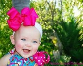 Large Stacked Hot Pink Bow