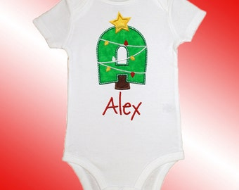 Christmas Baby Shirt Bodysuit - Personalized Applique - Christmas Tree Alpha - Embroidered Short or Long Sleeved
