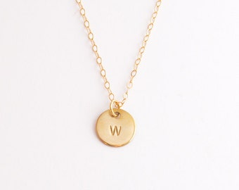 Gold initial and heart discs on gold-filled chain