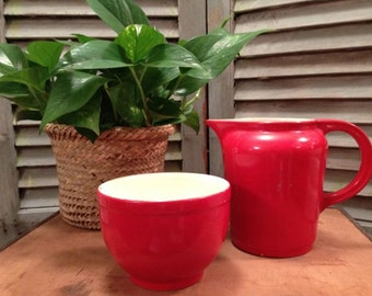 Universal Cambridge Pottery - Small Red Bowl and Medium Red Pitcher