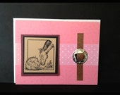 New baby girl congratulations handmade pink greeting card western horse theme congrats filly mare foal