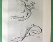 NUDE Study of Woman's Body by Franz Stuck Scherzo Woman Attacked by Satyr  - VICTORIAN Lichtdruck Antique Print