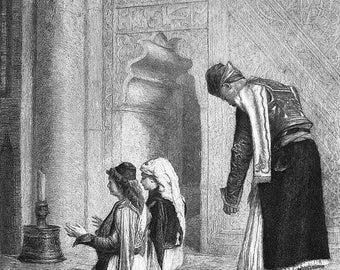 ORIGINAL ETCHING PRINT by Gerome, Rajon - Greece Greek Worshippers in Church at Prayer
