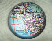 Large VINTAGE MAP Glass Paperweight - personalized with your choice of city