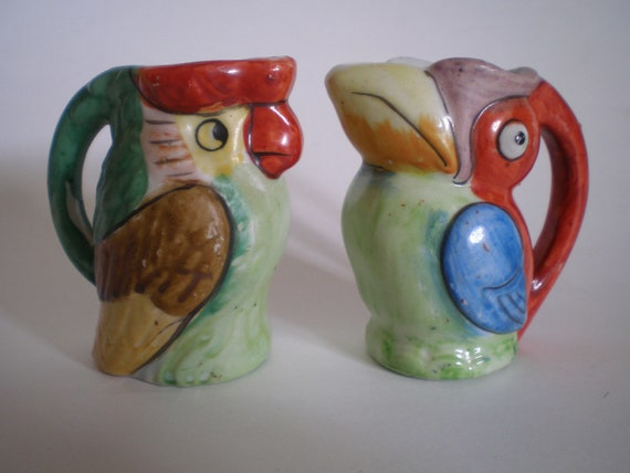 Tropical Bird Creamers Parrot Toucan Hand Painted Pitcher