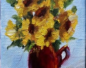 Art, Painting, Miniature Art, Fine Art, Mini Oil Paintigng, Sunflower, Bouquet on Etsy