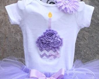 PURPLE CHEVRON --Birthday Girl Cupcake Bodysuit or Shirt Only, sizes Newborn-5T