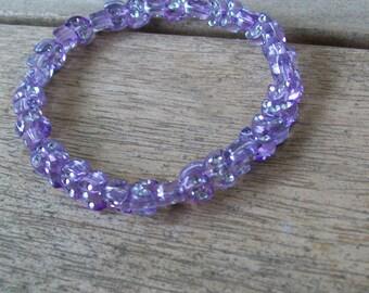 Stretch Purple Crescent Moon Bracelet