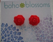 Bright Red Rose Post Earrings - 12 mm flower