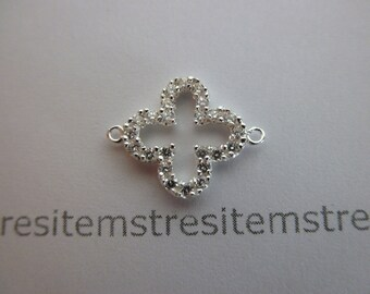 CZ sterling silver clover connector