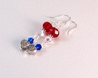Red, White & Blue Heart Dangle Earrings, Patriotic Jewelry, Red Jewelry, London, Fourth of July, Summer, Summer Olympics