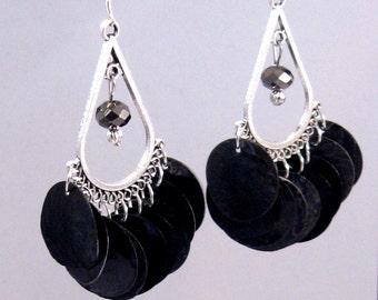Black Iridescent Shell & Czech Crystal Chandelier Earrings, Black Jewelry, Black Earrings, Fall Fashion, Fall Jewelry, Birthday Gifts