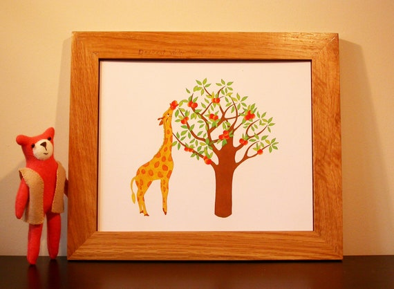 Giraffe with a peach tree giclee art print
