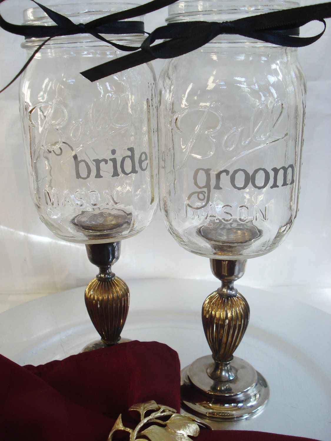 Personalized Mason Jar Wine Glasses Vintage Silver Candlestick