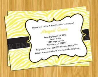 DIY Printable 4x6 BridalShower-Bachelorette-Baby Shower Invitation-Yellow zebra print