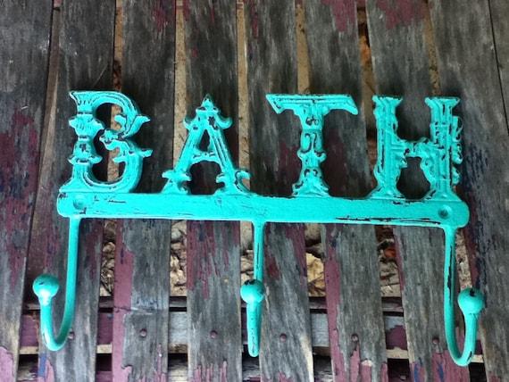 Turquoise Shabby Chic Decor Bath Wall Rack Towel Rack Clothes