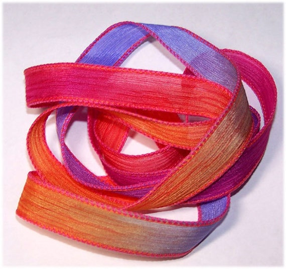 Hand Painted Wrist Wrap Ribbons High Voltage Sassy Silk Ribbons