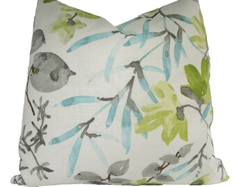 Designer Decorative Robert Allen, Chinoiserie Pillow Cover, 18x18, 20x20, 22x22 or Lumbar, Aqua, Turquoise, Green, Throw Pillow