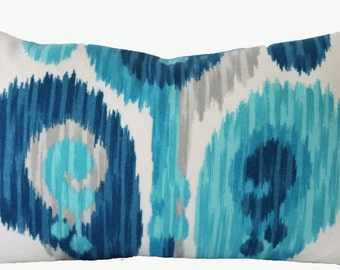 Decorative Designer Indoor Outdoor Ikat Abstract Paisley Pillow Cover, Turquoise, Blue, Grey, Throw Pillow