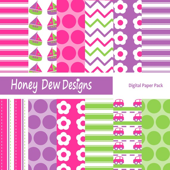 Digital Paper Pack 149 - 'Girlie' Transportation Patterned Paper