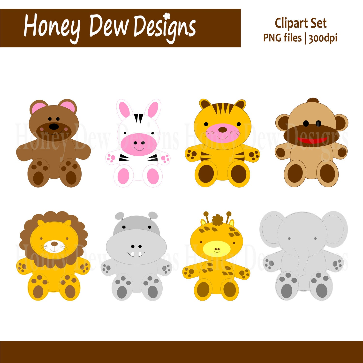 Clipart Package 063 Stuffed Animal Clipart by HoneyDewDesign