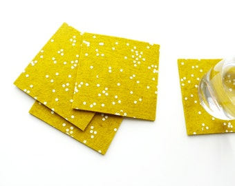 Golden Wool Felt Coasters - White Confetti Pattern - Set of four