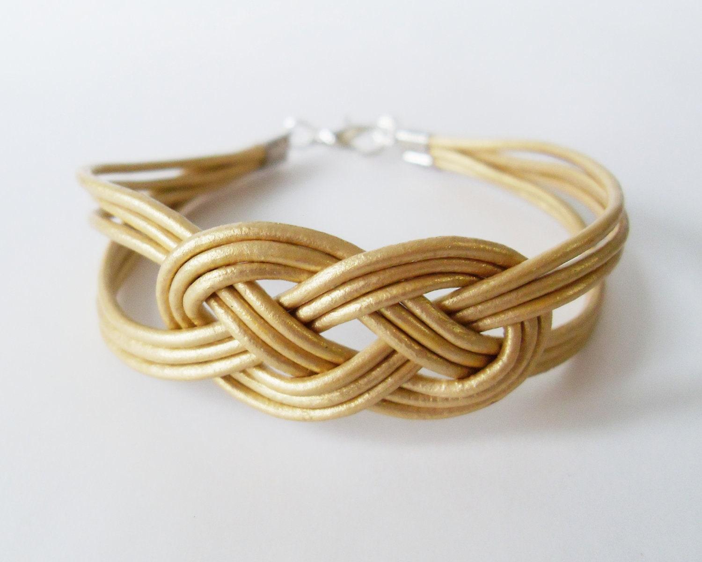 leather sailor knot bracelet gold leather by starryday