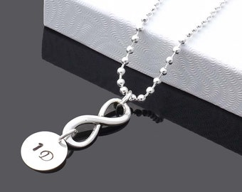 Infinity Charm Necklace - Personalized Monogrammed Necklace- Directioner-1D -one direction