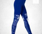 Police Box Blueprints Lapis Blue Leggings American Apparel S M L XL (Limited Quantity)