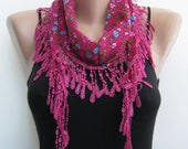 Summer scarf- Pink, multicolor, floral cotton lace scarf,summer scarf
