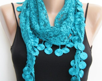 Lace scarf, teal summer scarf, handmade scarf