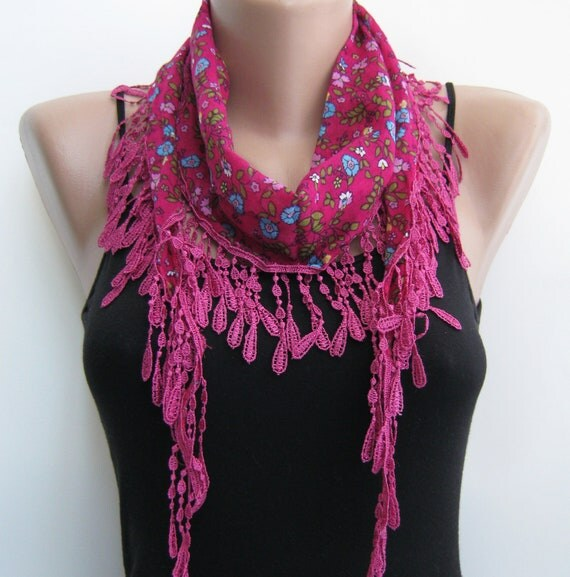 Multicolor floral lace scarf, pink spring scarf, summer scarf, mother's day, fall scarf, lace headband, multiple options neckwear, for her