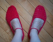 Cotton Mary Jane Slippers - Crocheted Cotton in Red