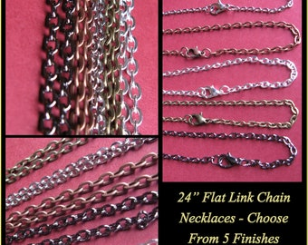 "5 Flat Link Cable Chains - 24"" Choose  - Antique Bronze, Antique Copper, Antique Silver, Gunmetal Black, or Shiny Silver.  Mix and match"
