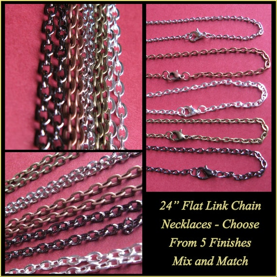 "20 Flat Link Cable Chains - 24"" Choose  - Antique Bronze, Antique Copper, Antique Silver, Gunmetal Black, or Shiny Silver.  Mix and match"