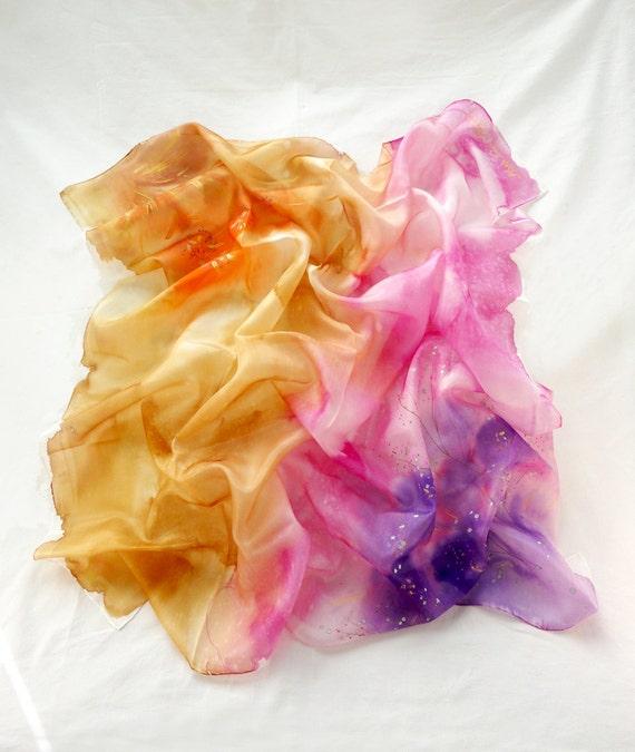 Women Scarf. Hand Painted square Silk Scarf. Orange, Pink Shawl. Echarpe Foulard Soie. 35x35in. (90x90cm). Ready to Ship.