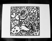 Alternative / Fantasy - Black and White Doodle Art Blank Greeting Card w / envelope - Recycled Paper - IntricateKnot