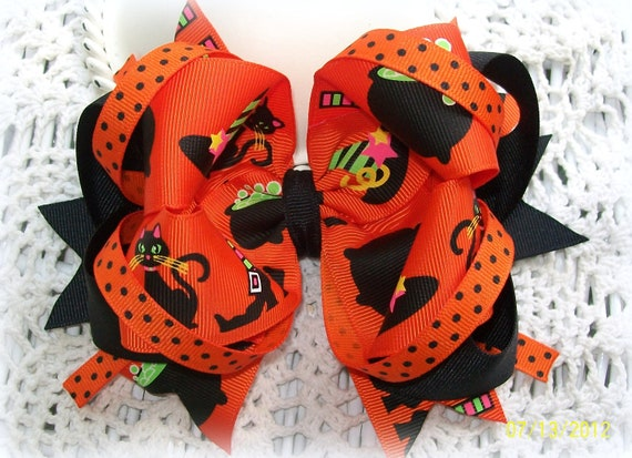 Halloween Hair Bow...Girls Hair Bow....Orange and Black Hair Bow...Witch Print Boutique Bow
