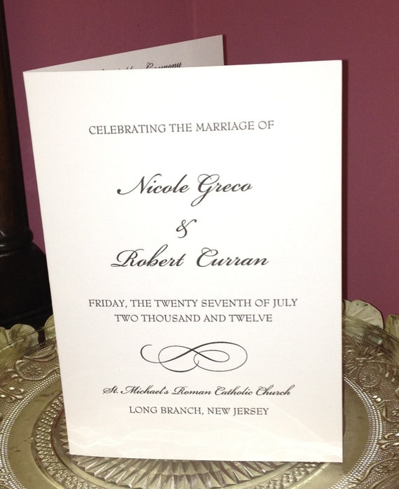 Wedding ceremony programs folded personalized color and for Folded wedding programs