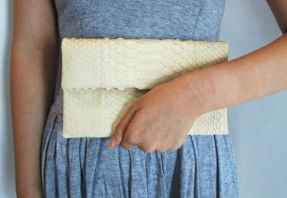 SALE - MINI Cream Nude Pastel Fold Over Python Snakeskin Leather Clutch