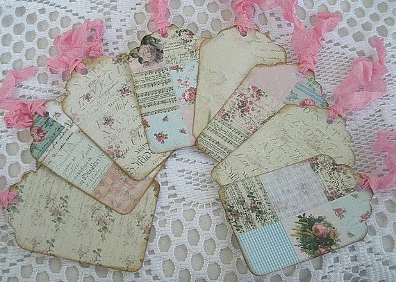 Shabby Chic Tags Cards Name Tags Cards Handmade