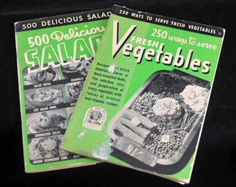 1940s Culinary Arts Institute Cook Booklets 250 Ways to Serve Fresh Vegetables and 500 Delicious Salads Vintage Pair