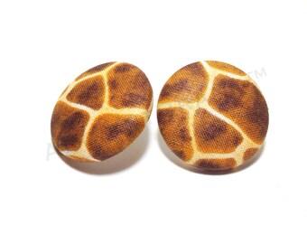 Medium Giraffe Print Button Earrings
