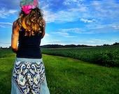 Boho Gypsy, Maxi Skirt, Long Skirt, Hippie, Womens Clothing, Blue Skirt, Bohemian, Upcycled Clothing