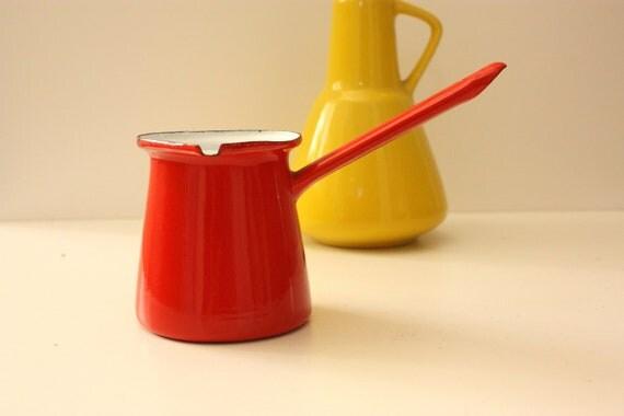 Vintage French Red Enamel Milk Warmer