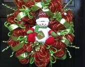 "CHRISTMAS deco mesh ""SNOWMAN"" wreath"