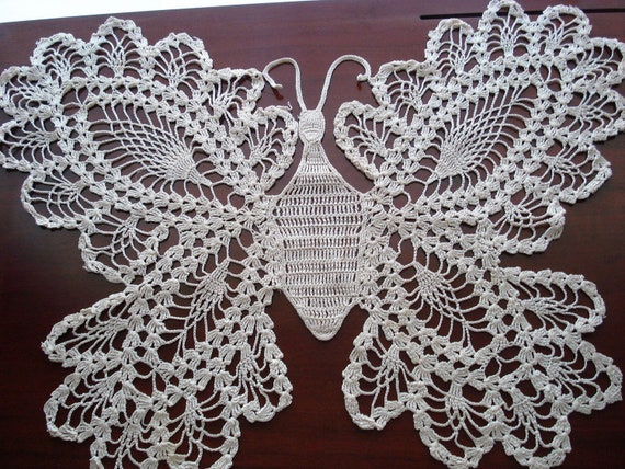 Hand Made Set of Large Butterfly Doilies