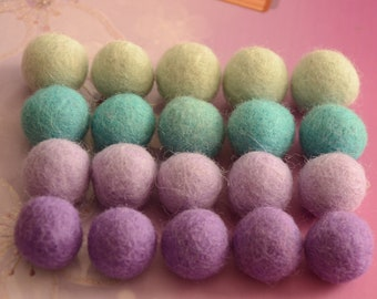 20pcs Blue & Purple Mix Wool Felt Balls (1cm or 1.5cm)