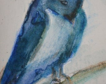 Original ACEO Watercolor Painting- Blue