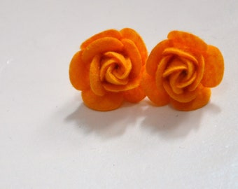 Orange Felt Roses Earrings